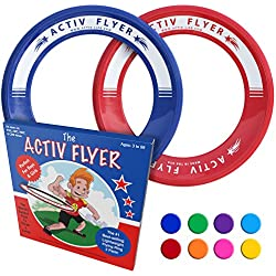 Activ Life Best Kids Frisbee Rings [Red/Blue] Top Birthday Gifts Xmas Stocking Stuffers - Cool Toys for Year Old Boys Girls and Fun Family Outdoor Games Love Hot Bday & Child X-mas Idea