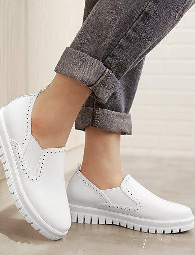 arrotondata Sportivo Donna Finta alla Giallo Punta almond pelle moda libero Bianco Sneakers Casual Tempo Scarpe gyht ShangYi Plateau Basso 76Exzwfqx