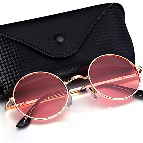 Menton Ezil Classic Small Round Fashon Metal Ozzy Elton Color Tint Style Polarized Sunglasses for Mens Womens April - Sunglasses Backpacking