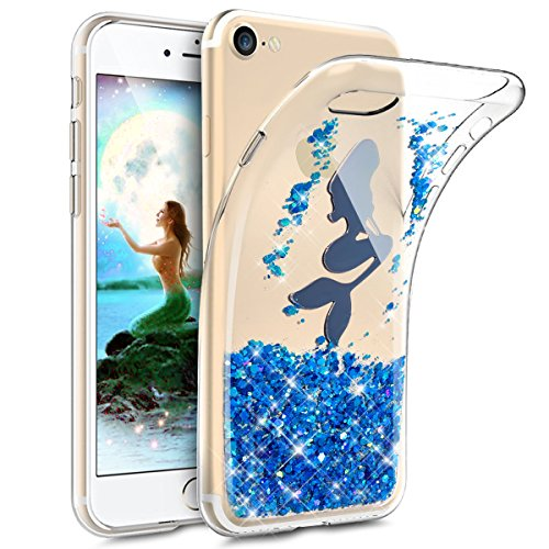 iPhone 6S Case,iPhone 6 Case,ikasus Crystal Clear Bling Glitter Sparkle Mermaid Wafer Ultra Slim Flexible Frame Silicone Soft TPU Bumper Rubber Protective Case Cover for Apple iPhone 6S/6 4.7,Blue
