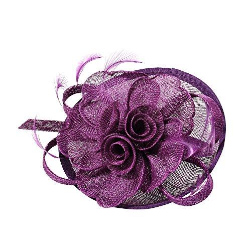 Pandahall 1 Pcs Elegant Darkviolet Fascinators for Weddings, Flower Organza with Feather, 120mm