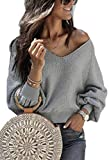 Angashion Women Sweatshirts - Long Sleeve V Neck Fleece Fuzzy Loose Pullover Sweater Tops Grey S