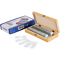 AmScope PS50 Prepared Microscope Slide Set for Basic Biological Science Education, 50 Slides, Includes Fitted Wooden Case