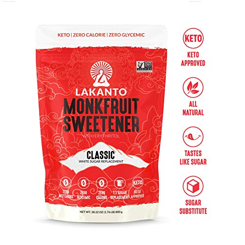 (Lakanto Monkfruit 1:1 Sugar Substitute | 28 oz NON GMO (Classic White, 1.76 Pounds))