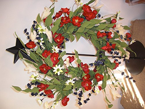 - Your Heart's Delight Americana Daisies and Mini Roses Twig Base Wreath, 22-Inch
