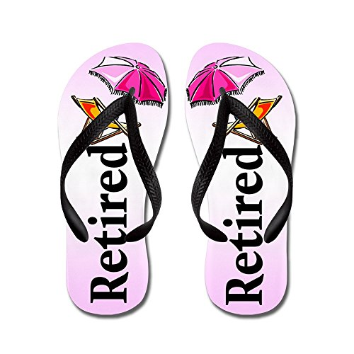 CafePress Beach Retirement - Flip Flops, Funny Thong Sandals, Beach Sandals Black