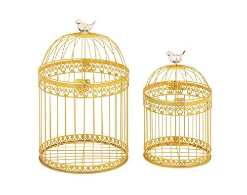 Deco 79 Metal Acrylic Bird Cage, 16 by 12-Inch, Yellow, Set of - Coastal.com Glasses
