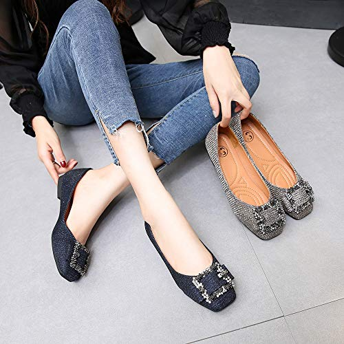 Meeshine Womens Buckle Slip On Loafer Casual Low Flats Square Toe Shoes 18ed2e06c1