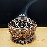 Quemador de incienso tibetano o sándalo, diseño de flor de loto de aleación de cobre mini para decoración del hogar