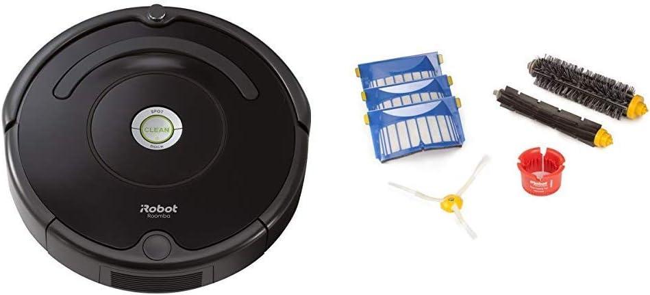 iRobot Roomba 614 Robot Vacuum with Roomba 600 Series Replenishment Kit (1 Bristle Brush, 1 Beater Brush, 1 Spinning Side Brush, 3 AeroVac Filters, and 1 Round Cleaning Tool)