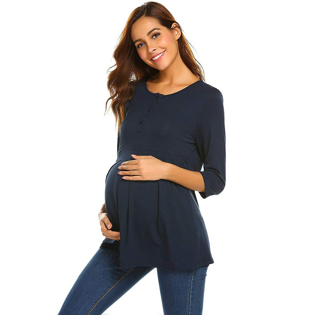 Women's Nursing Long Sleeve Solid Tops Button Breastfeeding Tee T-Shirt Blouse Black,Navy,Gray S,M,L,XL,XXL