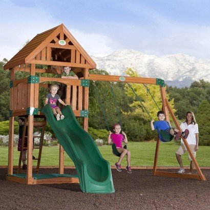 Adventure Playsets Trek All Cedar Swingset-Children outdoor toy play yard games playset activity.Comes with Backyard Odyssey Tower,two-position heavy duty / extra wide swing beam,10' wave slide. Made from 100% cedar with extra heavy posts.