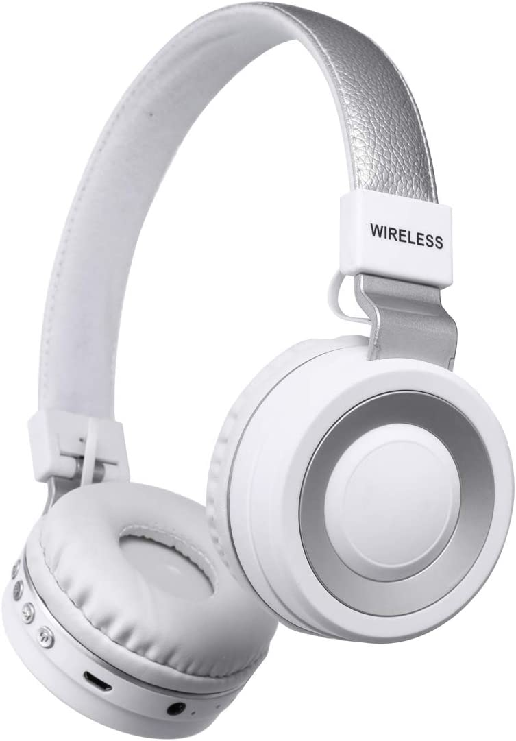 HM1 Noise Cancelling Wireless Headphone On Ear with Mic and Alexa Voice contro, Soft Memory Protection Earmtuffs for TV Cellphone Travel Work and Support TF Card (White)