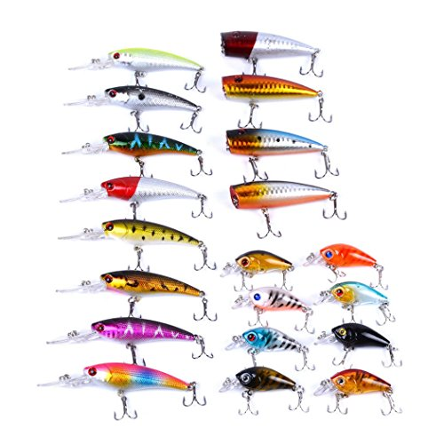 Aorace 20pcs Fishing Lures Kit Mixed including Minnow Popper Crank Baits With Hooks For Saltwater Freshwater Trout Bass Salmon Fishing