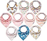 10-Pack Girl Bandana Bibs Little Munchkins Handkerchief Bibs, Baby Drool Bibdanas, Organic Cotton, Super Absorbent, 10 Stylish Designs for Baby Girls Toddler, Adjustable Snaps