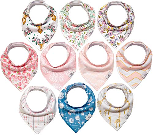 10-Pack Girl Bandana Bibs Little Munchkins Handkerchief Bibs, Baby Drool Bibdanas, Organic Cotton, Super Absorbent, 10 Stylish Designs for Baby Girls Toddler, Adjustable Snaps by LittleMunchkins
