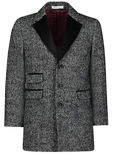 Isaac Mizrahi Boy's CT1020 Velvet Lapel Wool Overcoat - Herringbone - 16 (Defense Top Coat)