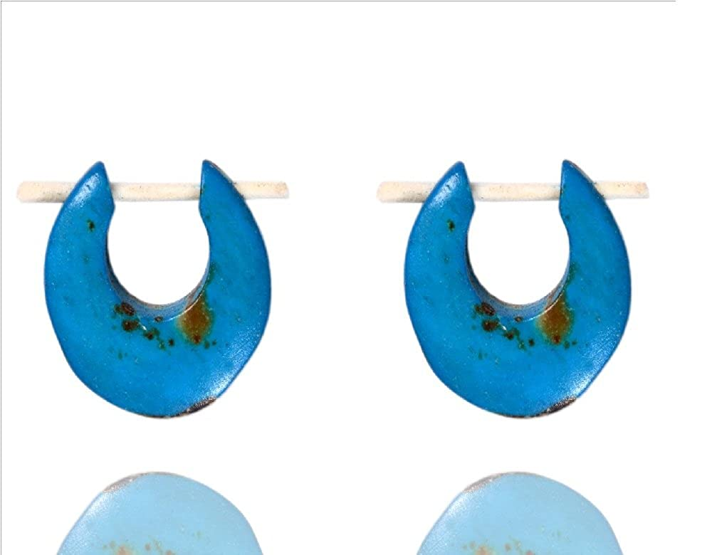 Ethnic Arts India Women's Tribal Handmade Bone Stick Earring Light Blue WER240A