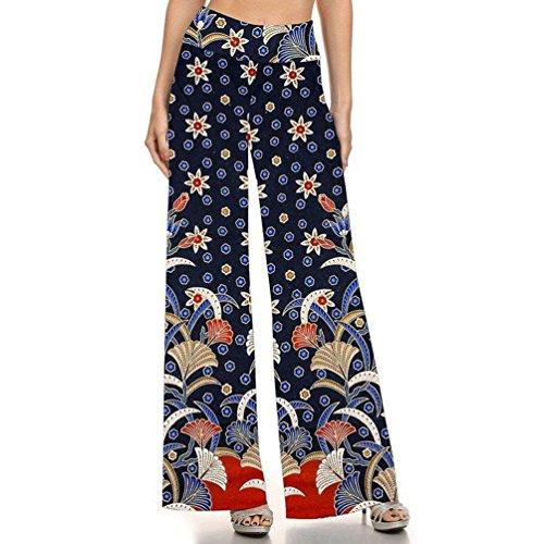 Sciolto Eleganti Vintage Pantaloni Colour Donna Tempo Waist Palazzo Fashion Pantaloni Libero Chic Stampa Ragazza Larghi Pantaloni Stile Estivi 7 Abbigliamento High Etnico Fiore Hippie Pantaloni 4FwqO