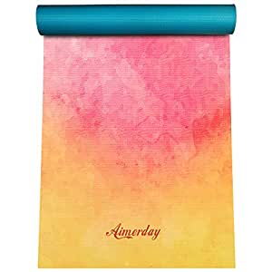 "Aimerday Premium Printed 1/4"" Extra Thick Yoga Mat High Density 72X24 Inch Non Slip Floor Pilates Exercise Mat for Yoga, Workout, Fitness with Carrying Strap & Bag 6mm"