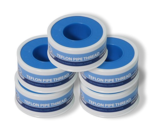 Seal Tape Thread (Everflow 811-5 PTFE Thread Seal Tape for Plumbers, White 1/2 Inch x 520 Inch (Pack of 5 Rolls))