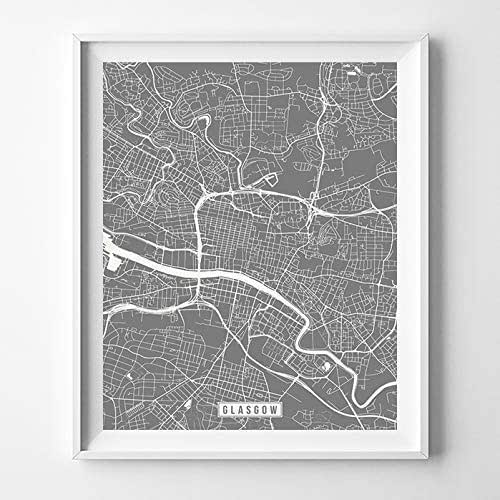 Amazon.com: Glasgow Scotland UK City Street Map Wall Art