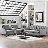 Modern Contemporary Urban Design Living Lounge Room Armchairs and Sofa Set, Grey Gray, Fabric
