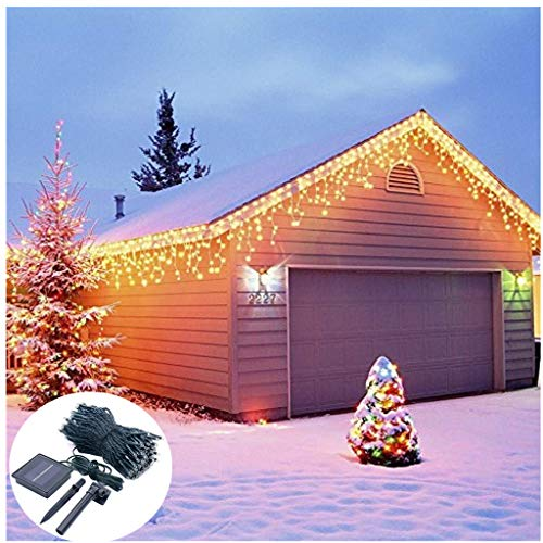 - Outdoor Wave Icicle Lights,Solar Powered,19.7ft Long 300 LED,8 Mode Snowing Lights for Window Wall Party Home Patio Lawn Garden Bush Fence Decoration- Waterproof,Dark Green Cable (Warm White)