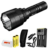 Cheap Nitecore P30 1000 Lumen Long Throw Flashlight with 2X 3400 mAh Rechargeable Batteries, I2 Charger and LumenTac Battery Organizer