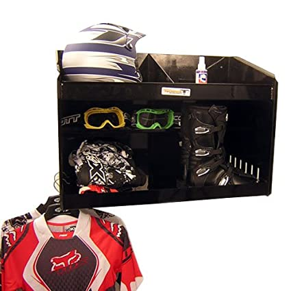 Silver Pit Posse Deluxe Dual Helmet Bay Shelf Holder Aluminum Enclosed Race Trailer Shop Garage Storage Organizer