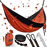 """MsForce Double Camping Hammock Waterproof Lightweight Parachute 240T Portable Hammock, 2 Heavy-Duty 1500 lbs Capacity Carabiners, with 2 Tree Straps for Outdoor Backpacking Indoor 118"""" L x 78"""" W"""