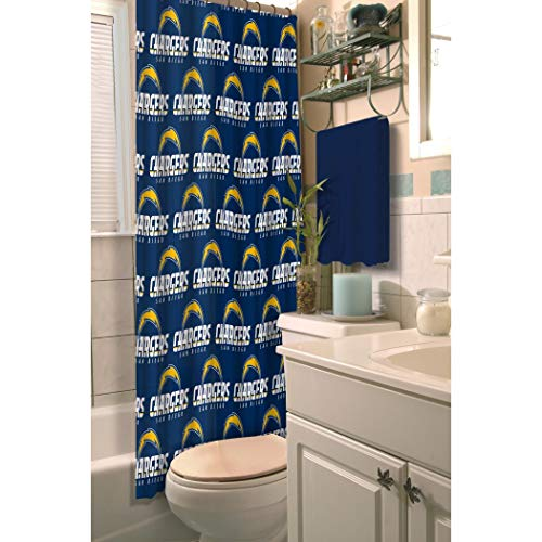 - 1 Piece Navy Blue NFL San Diego Chargers Football Sports Themed Shower Curtain, Polyester Detailed Sports Pattern, Modern Elegant Design, Official Colorful Team Logo Printed, All Seasons, True Color