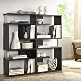 Storage Shelf/ Bookshelves Contemporary, Modern Milo Dark Brown/ Espresso Modern Storage Shelf - Assembly Required FP-5M-Tier Display (3A). 47.25 in High x47.25 in Wide x 11.5 in Long
