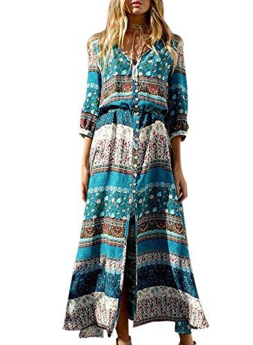 Sleeve Button Green 3 Women's Peacock Bohemian Dress Achicgirl 4 Split qgI1w