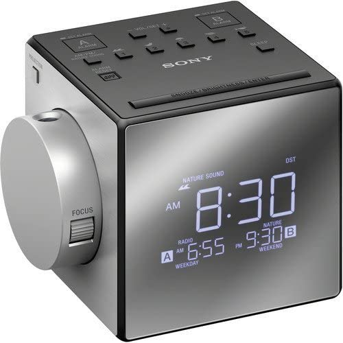 Sony All in One Compact AM FM Dual Alarm Clock Radio with Time Projection, Soothing Nature Sounds Large Easy to Read Backlit LCD Display
