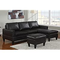 Advanced Modern Black Faux Leather Reversible Sectional Sofa Chaise Ottoman Set with clean lines and a strong