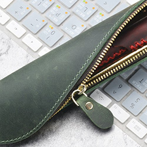 TOOGOO Kreative Leder Reissverschluss Stift Bleistift Tasche S-Modell Vintage Retro-Stil kreative Schule Zubehoer Dunkelgruen Dunkelgruen ecttF0V
