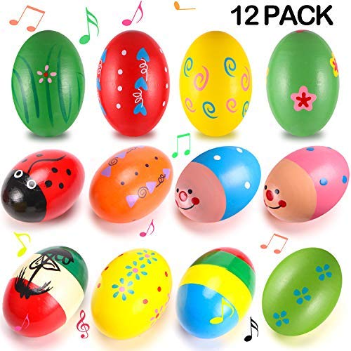 12Pcs Wooden Egg Shakers Maracas Percussion Musical Egg Kids Toys for Party Favors,Easter Basket Stuffers,Easter Egg Fillers,Musical Instrument, Easter Hunt(Assorted Colors)