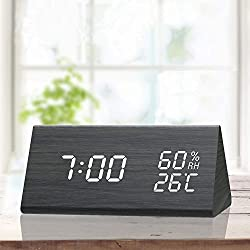 TooTa Digital Alarm Clock, 3 Alarm Settings, with Wooden Electronic LED Time Display, Temperature Detect, Ideal for Bedroom, Bedside, Kids, Batteries not Needed, Black