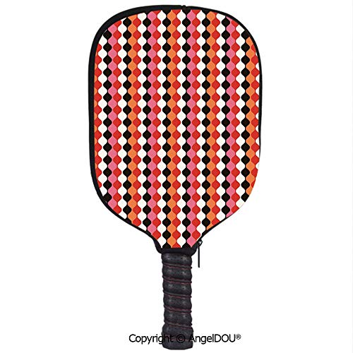 AngelDOU Retro Lightweight Neoprene Pickleball Paddle/Racket Cover Case Curved Elliptic Shaped Abstract Forms in Vertical Direction Vivid Colors Illustration Durable and Portable.Multicolor