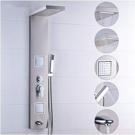 304 de acero inoxidable para lluvia, agua automática, masaje, spray, juego de mampara para ducha dividida cepillada Juego de ducha con interruptor de cinco velocidades: Amazon.es: Bricolaje y herramientas