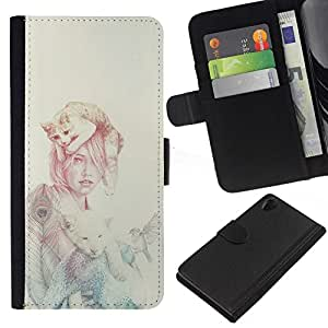 NEECELL GIFT forCITY // Billetera de cuero Caso Cubierta de protección Carcasa / Leather Wallet Case for Sony Xperia Z2 D6502 // Mujer Gato