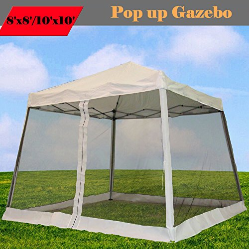 8'x8'/10'x10' Pop up Canopy Party Tent Gazebo Ez with Net (White)