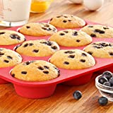 GT Market plus 12 Non Stick Silicone Molds for Muffin Tins (Red) Silicone Cupcake Baking Cups