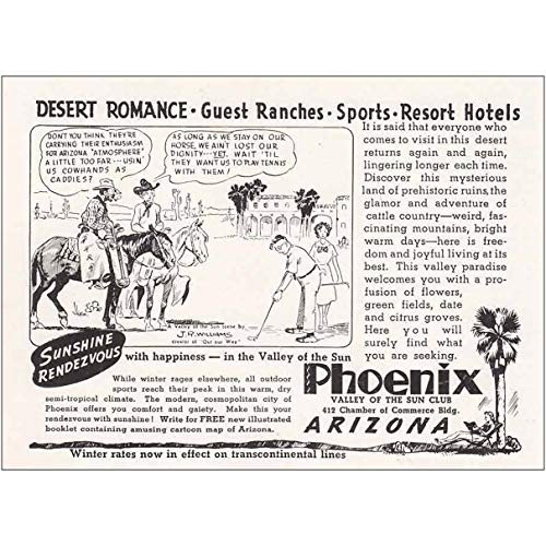 Amazon com: RelicPaper 1940 Phoenix, Arizona: Desert Romance