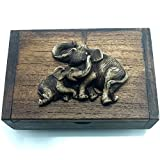 THAI Elephant Name Card Jewelry Earrings Rings Necklace Trinket Storage Teak Wood Box #0202