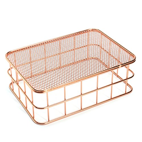 Caveen Modern Copper Rose Gold Wire Mesh Basket Storage Office Bedroom Bathroom Rose Gold medium Photo #2