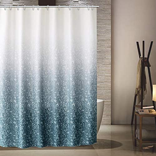 KSR Shower Curtain Set,Green Luxury Fabric with 12 Hooks Water-Proof Polyester Decorative Modern Bathroom Accessories,Standard 72x72 Inches