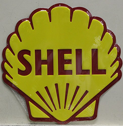 "SHELL Gasoline & Motor Oil Logo 24"" Metal Sign die cut embossed auto service dealer"