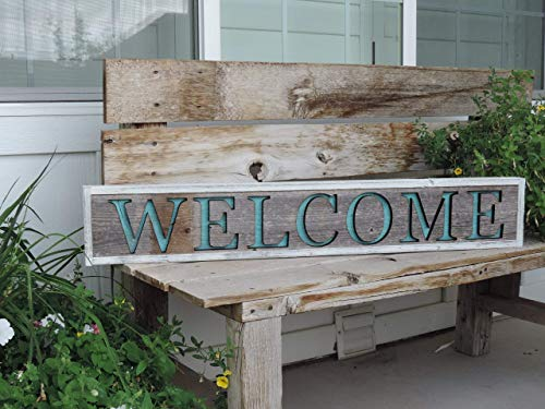 Welcome sign for the Front Door, Wooden Pallet Welcome signs for Home, House, Large Custom Barn Wood Sign Cutout, AllBarnwood Rustic Country ()
